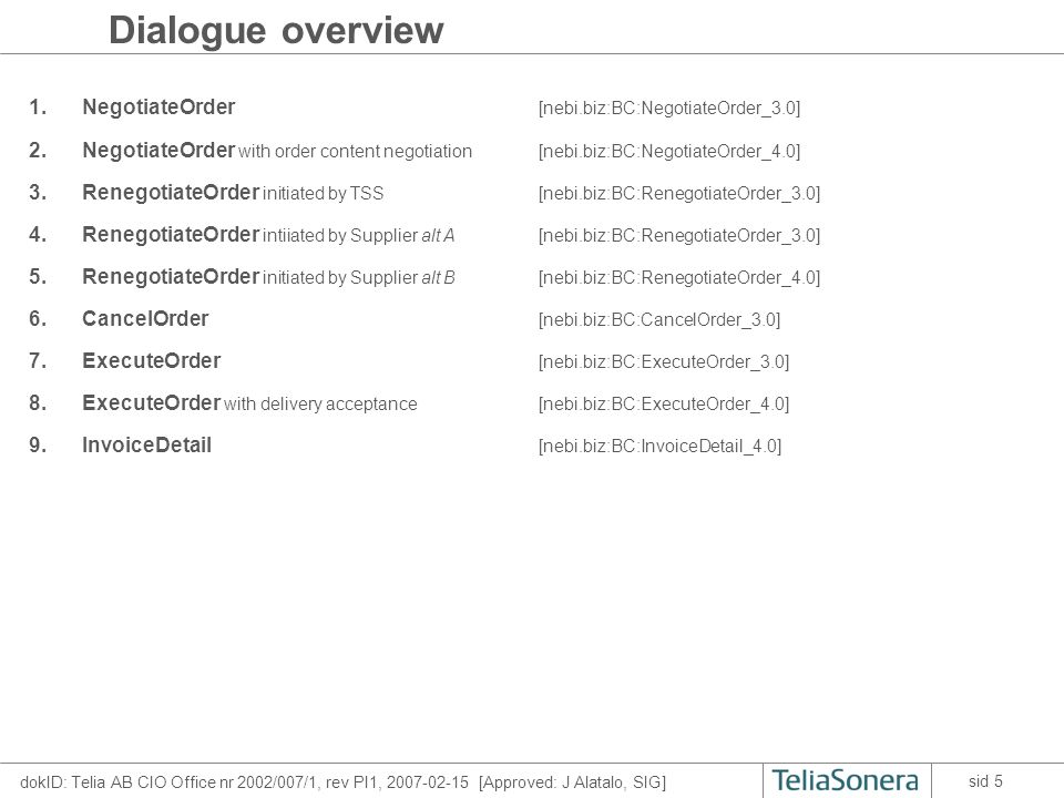 dokID: Telia AB CIO Office nr 2002/007/1, rev PI1, 2007-02-15 [Approved: J Alatalo, SIG] sid 16 Inter-dialogue rules 1 Within each dialogue the process rules are illustrated by the sequence diagrams in the previous slides.