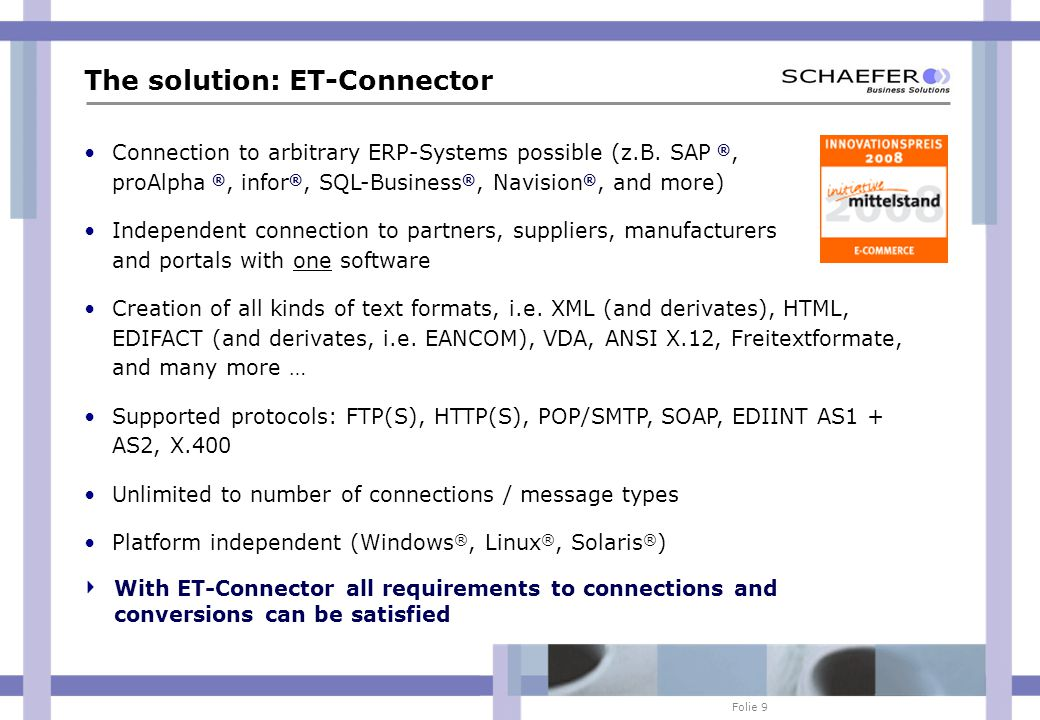 Folie 20 ACTIVE AKTIV Escalation management PASSIVE KundeSystem SBS Support (kein Callcenter!) SLA: ProActive, Active24 SLA: Reactive ALERT First analysis within granted response time (SLA) Analysis Solution.
