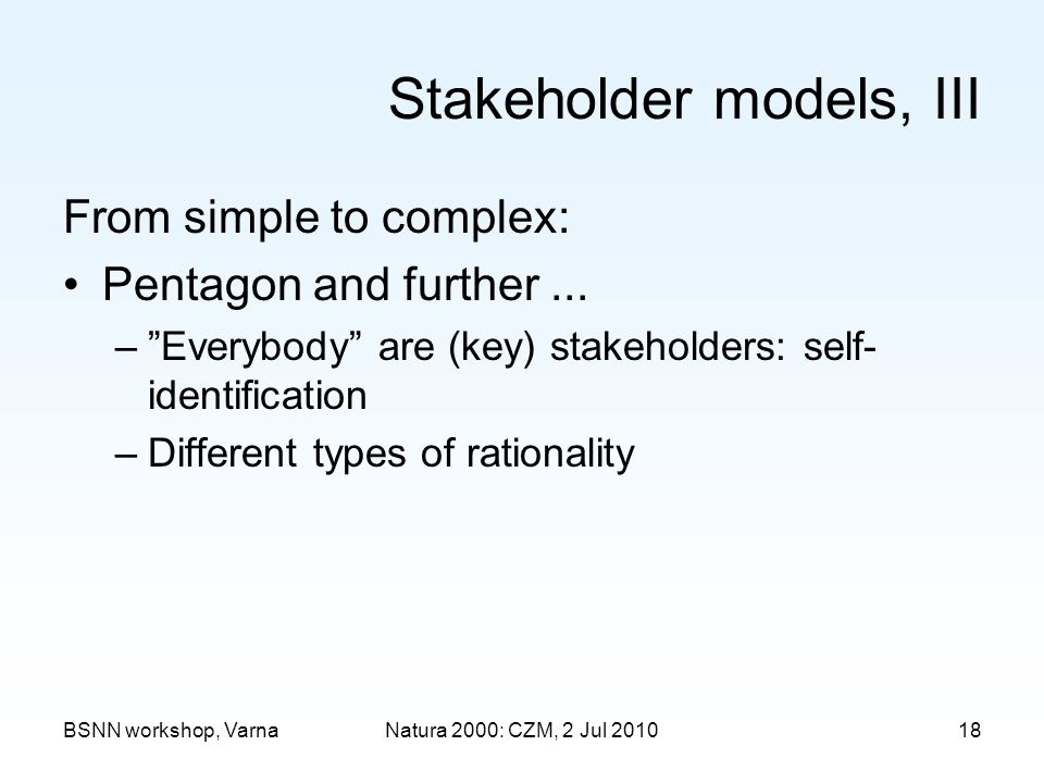 Stakeholder models, III From simple to complex: Pentagon and further...
