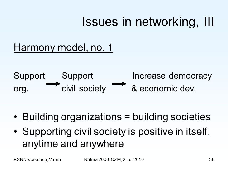 BSNN workshop, VarnaNatura 2000: CZM, 2 Jul 2010 Issues in networking, III Harmony model, no.