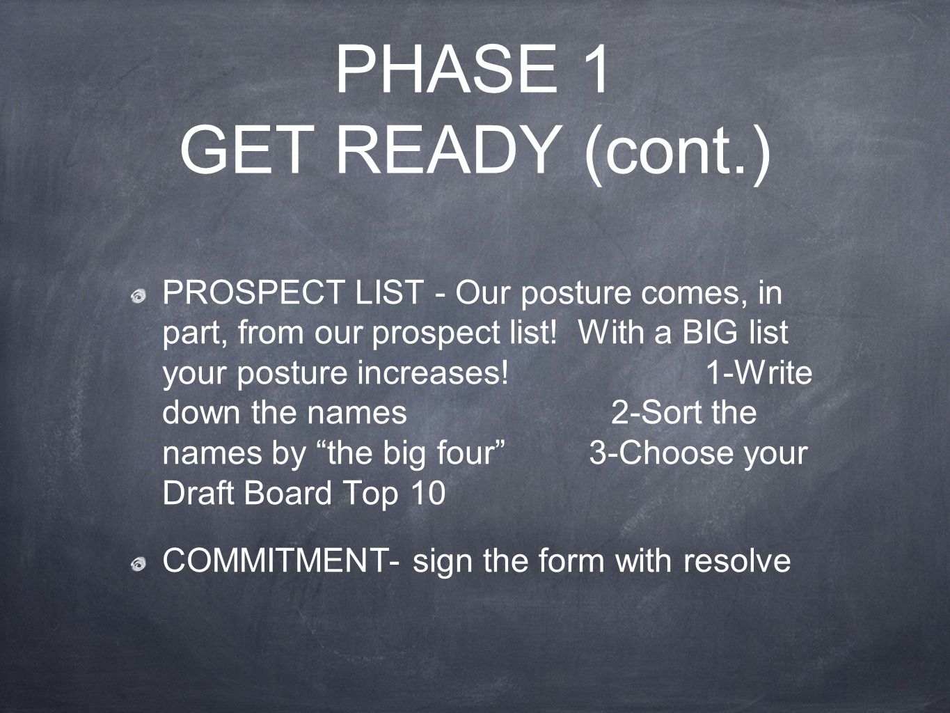 PHASE 1 GET READY (cont.) PROSPECT LIST - Our posture comes, in part, from our prospect list.