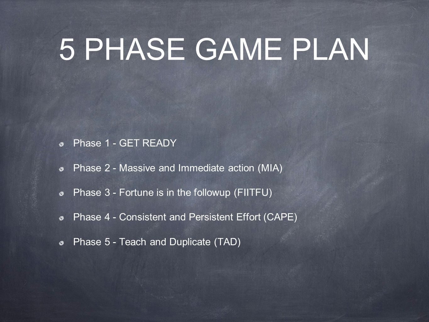 5 PHASE GAME PLAN Phase 1 - GET READY Phase 2 - Massive and Immediate action (MIA) Phase 3 - Fortune is in the followup (FIITFU) Phase 4 - Consistent