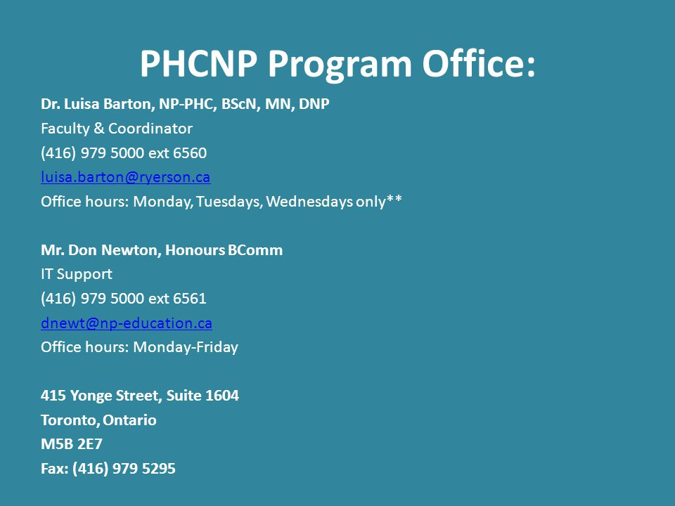 PHCNP Program Office: Dr.