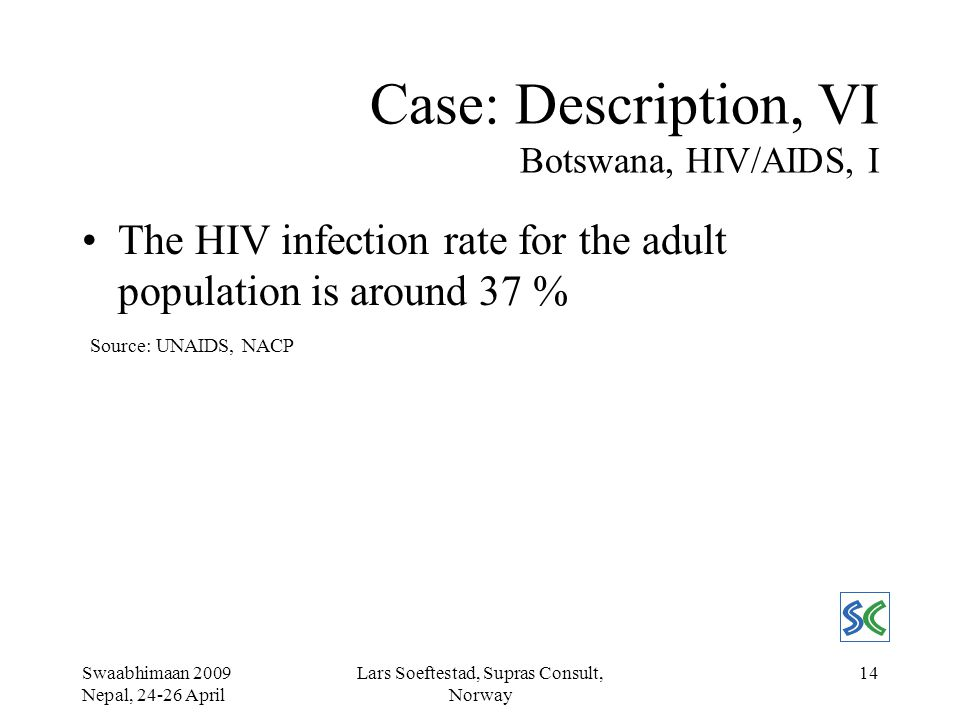 Swaabhimaan 2009 Nepal, 24-26 April Lars Soeftestad, Supras Consult, Norway 14 Case: Description, VI Botswana, HIV/AIDS, I The HIV infection rate for the adult population is around 37 % Source: UNAIDS, NACP