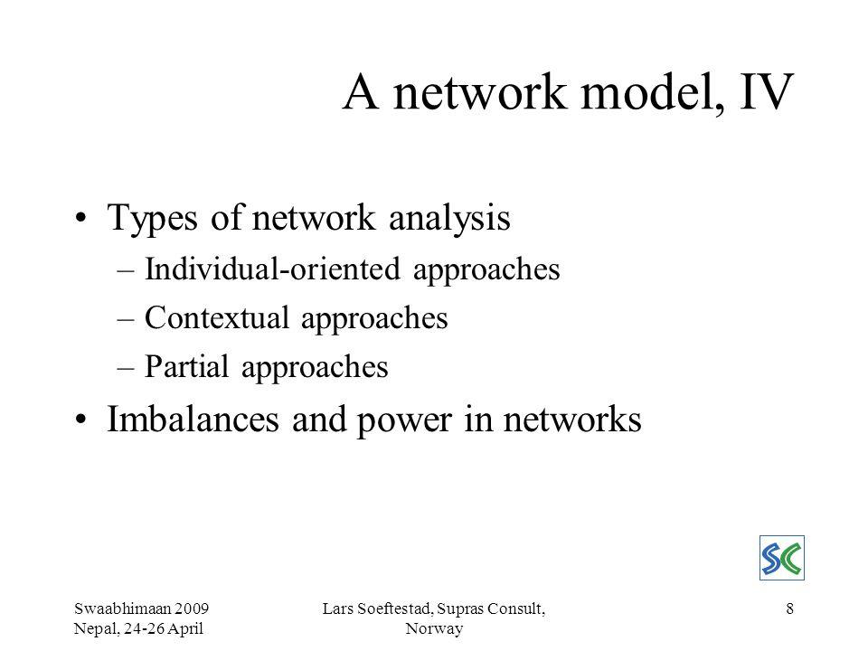 Swaabhimaan 2009 Nepal, 24-26 April Lars Soeftestad, Supras Consult, Norway 19 Case: Analysis, II Stakeholders: rel.