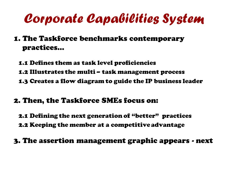 Corporate Capabilities System 1. The Taskforce benchmarks contemporary practices… 1.1 Defines them as task level proficiencies 1.2 Illustrates the mul