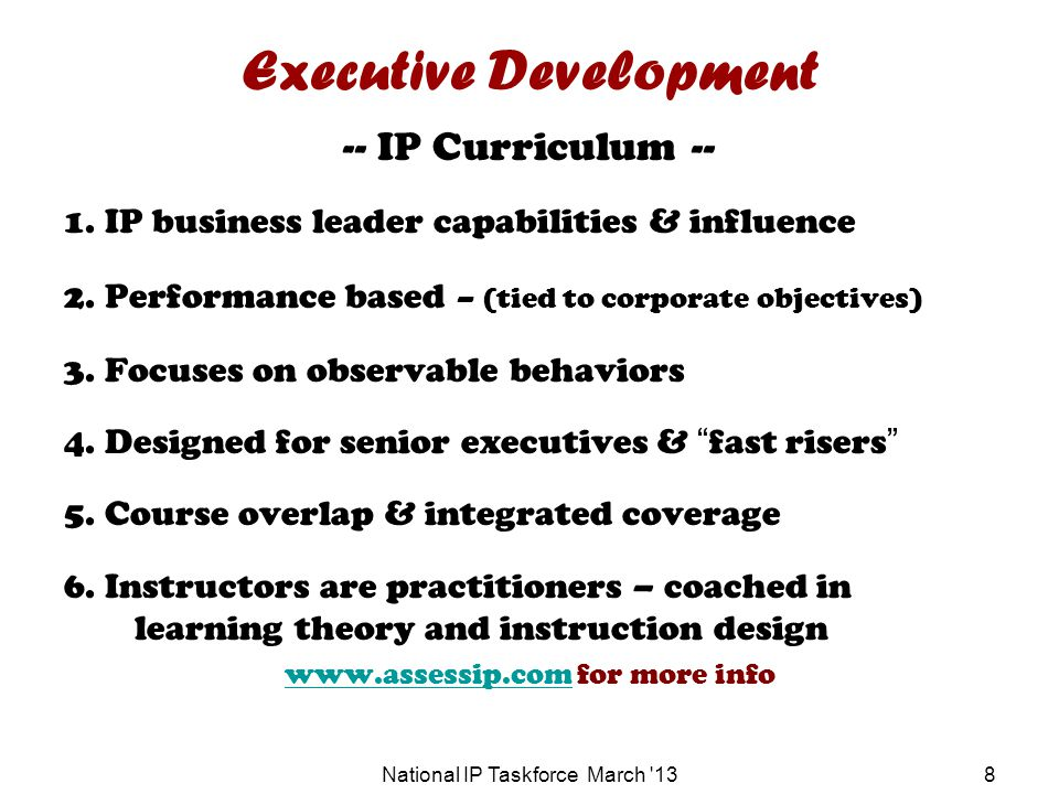 Executive Development -- IP Curriculum -- 1. IP business leader capabilities & influence 2.