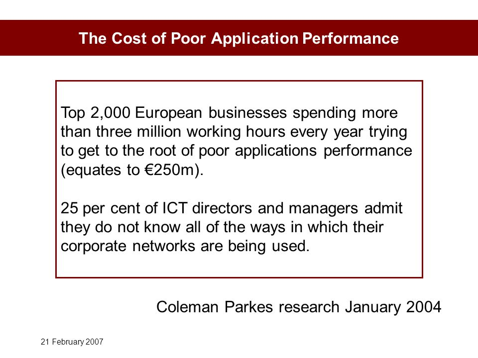 21 February 2007 The Cost of Poor Application Performance Top 2,000 European businesses spending more than three million working hours every year trying to get to the root of poor applications performance (equates to €250m).