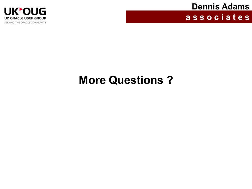 More Questions ? Dennis Adams a s s o c i a t e s