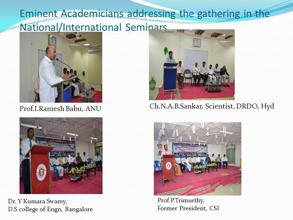 Eminent Academicians addressing the gathering in the National/International Seminars Dr.