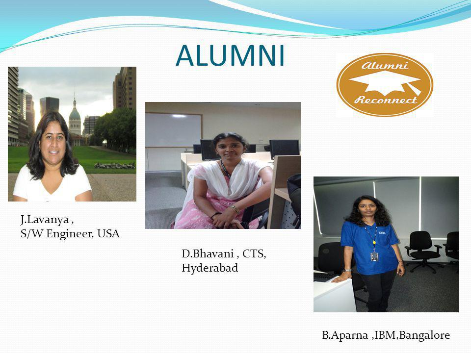 ALUMNI J.Lavanya, S/W Engineer, USA D.Bhavani, CTS, Hyderabad B.Aparna,IBM,Bangalore