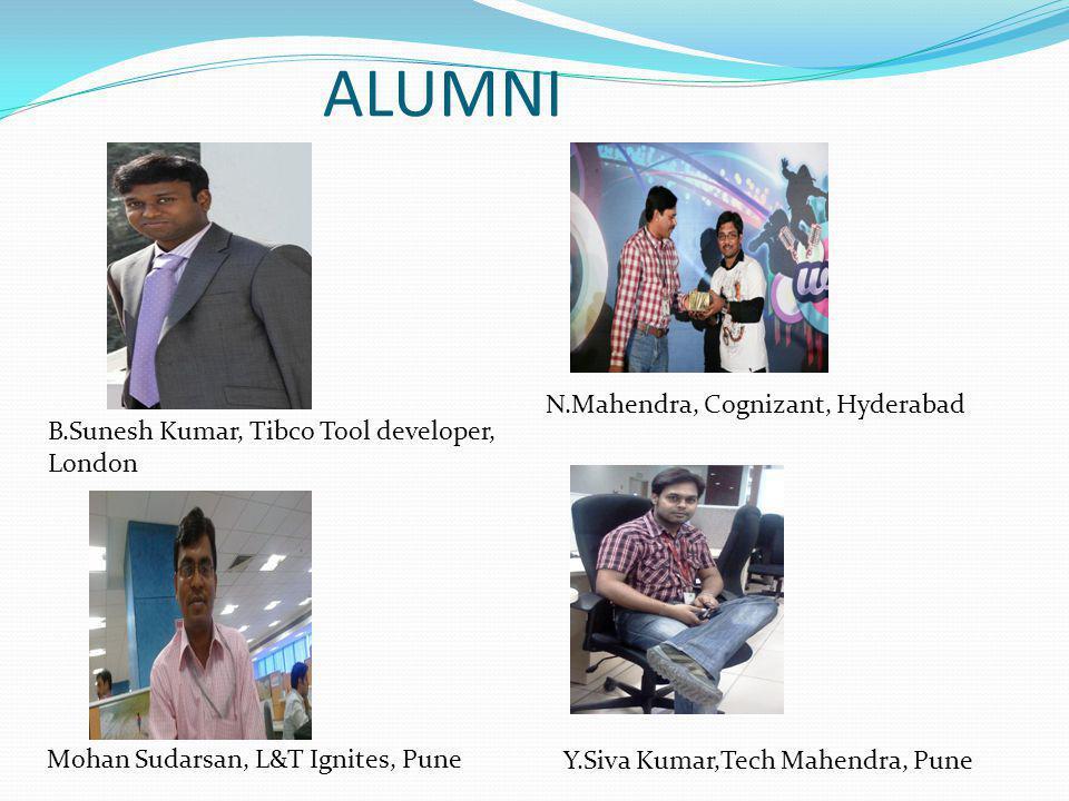 B.Sunesh Kumar, Tibco Tool developer, London Mohan Sudarsan, L&T Ignites, Pune N.Mahendra, Cognizant, Hyderabad Y.Siva Kumar,Tech Mahendra, Pune ALUMNI