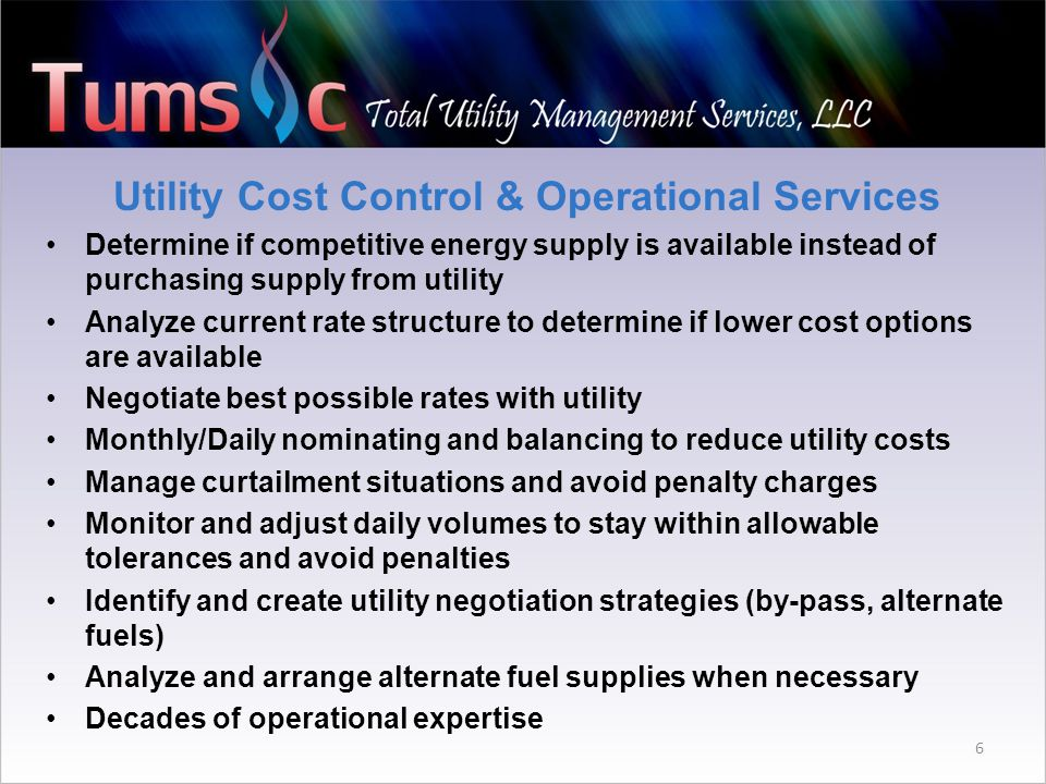 6 Utility Cost Control & Operational Services Determine if competitive energy supply is available instead of purchasing supply from utility Analyze current rate structure to determine if lower cost options are available Negotiate best possible rates with utility Monthly/Daily nominating and balancing to reduce utility costs Manage curtailment situations and avoid penalty charges Monitor and adjust daily volumes to stay within allowable tolerances and avoid penalties Identify and create utility negotiation strategies (by-pass, alternate fuels) Analyze and arrange alternate fuel supplies when necessary Decades of operational expertise