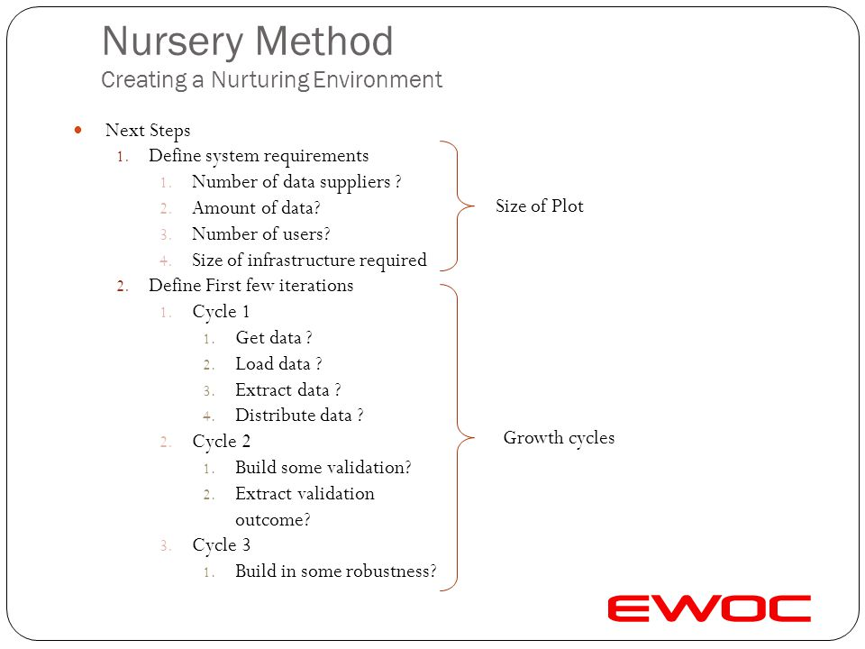 Nursery Method Creating a Nurturing Environment First Steps 1. Initial Plan 1. Overall objective? 2. By when? 2. Define Roles 1. Assign Roles 1. Busin