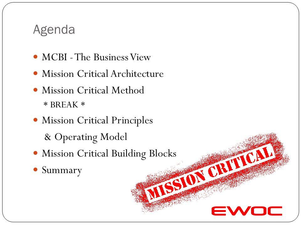 Agenda MCBI - The Business View Mission Critical Architecture Mission Critical Method * BREAK * Mission Critical Principles & Operating Model Mission Critical Building Blocks Summary