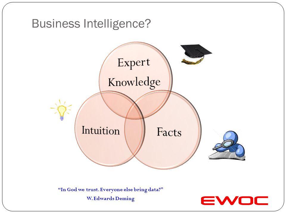 Business Intelligence? In God we trust. Everyone else bring data? W. Edwards Deming