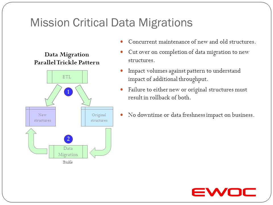 Mission Critical Data Migrations Independent data migration of (new) data source. Partition data migration in order to batch / trickle. Impact volumes