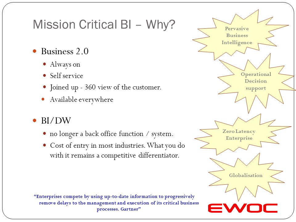 Technology Drivers Examples of technology features supporting Mission Critical BI.