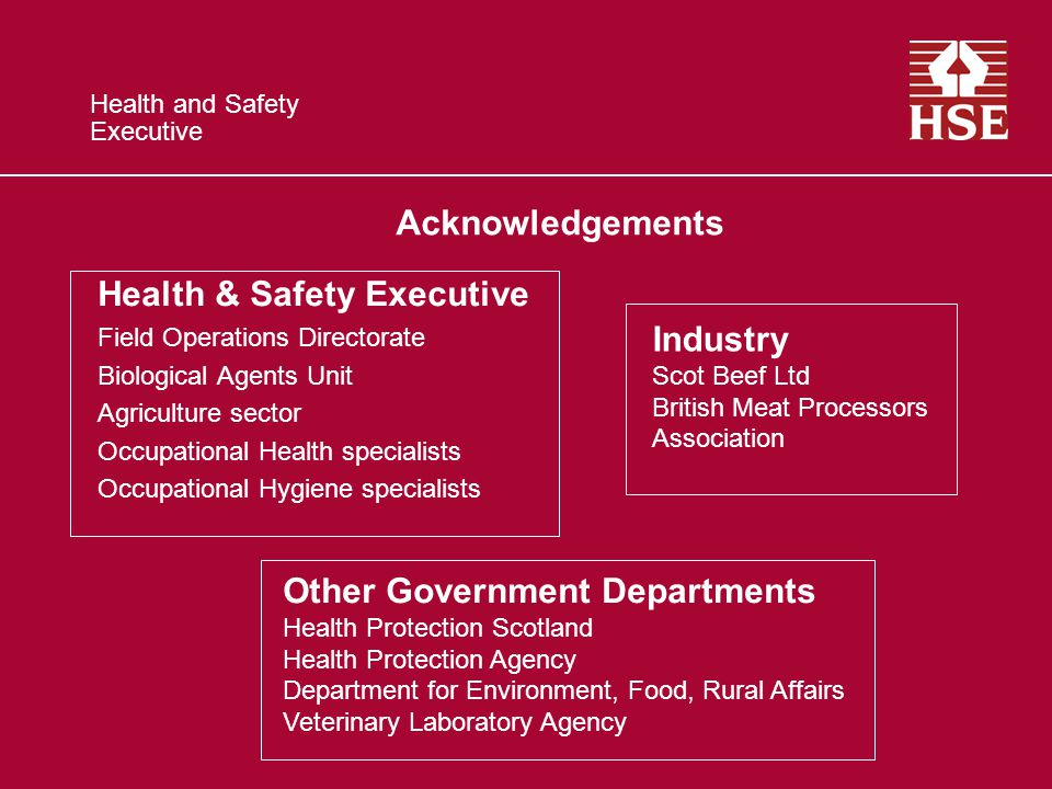 Health and Safety Executive Health & Safety Executive Field Operations Directorate Biological Agents Unit Agriculture sector Occupational Health specialists Occupational Hygiene specialists Other Government Departments Health Protection Scotland Health Protection Agency Department for Environment, Food, Rural Affairs Veterinary Laboratory Agency Industry Scot Beef Ltd British Meat Processors Association Acknowledgements