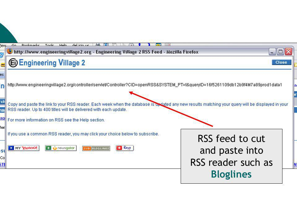 RSS feed to cut and paste into RSS reader such as Bloglines