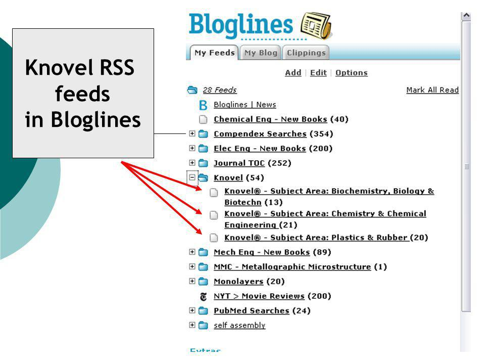 Knovel RSS feeds in Bloglines