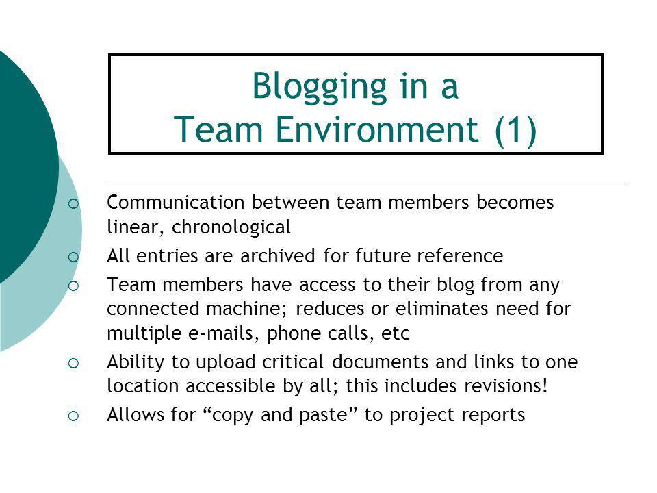 Blogging in a Team Environment (2)  a team member posts – other team members can comment, lead to new posts, further discussion, new ideas, progress.