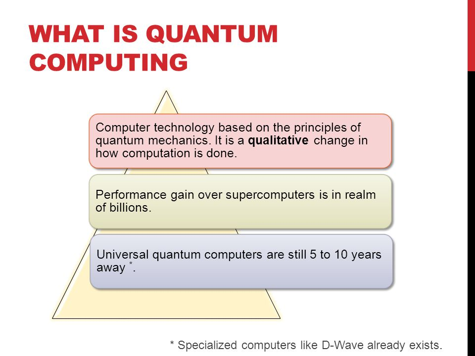 WHAT IS QUANTUM COMPUTING Computer technology based on the principles of quantum mechanics.