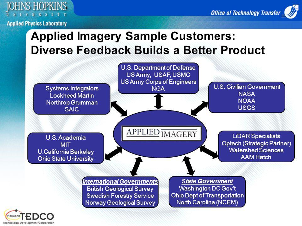 Applied Imagery Sample Customers: Diverse Feedback Builds a Better Product Systems Integrators Lockheed Martin Northrop Grumman SAIC U.S. Department o