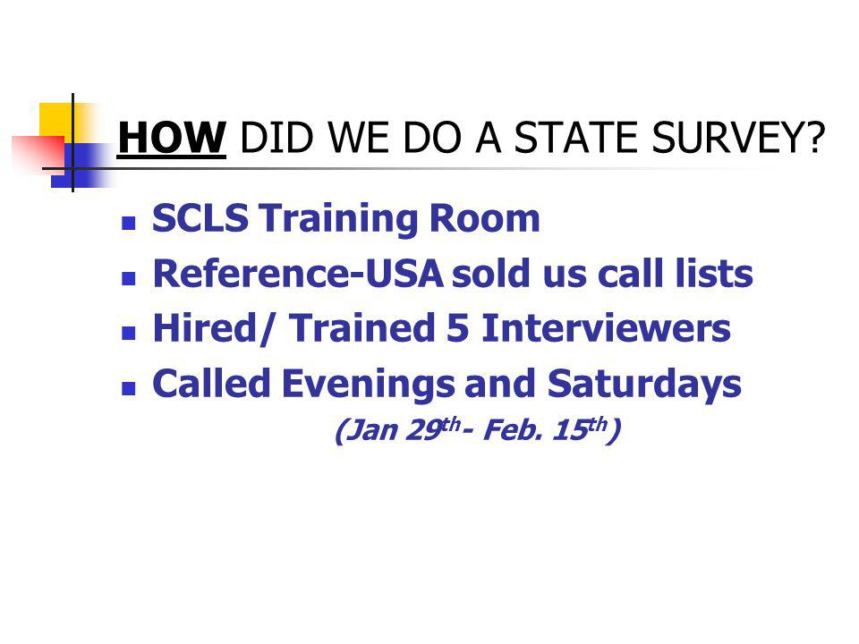 HOW DID WE DO A STATE SURVEY.