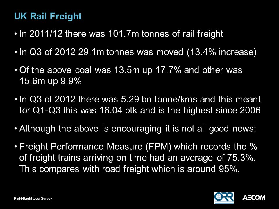 UK Rail Freight In 2011/12 there was 101.7m tonnes of rail freight In Q3 of m tonnes was moved (13.4% increase) Of the above coal was 13.5m up 17.7% and other was 15.6m up 9.9% In Q3 of 2012 there was 5.29 bn tonne/kms and this meant for Q1-Q3 this was btk and is the highest since 2006 Although the above is encouraging it is not all good news; Freight Performance Measure (FPM) which records the % of freight trains arriving on time had an average of 75.3%.