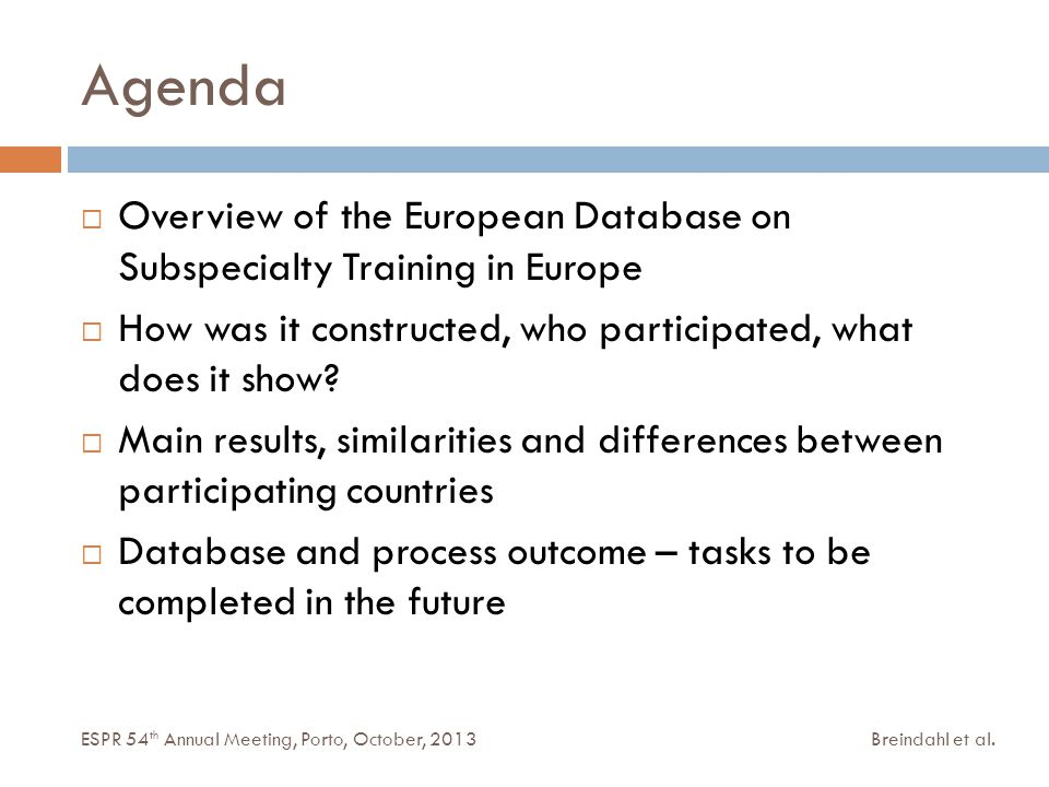 Agenda Breindahl et al.