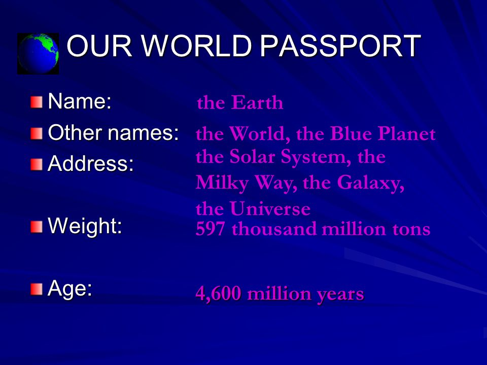OUR WORLD PASSPORT Name: Other names: Address: Weight:Age: the Earth the World, the Blue Planet the Solar System, the Milky Way, the Galaxy, the Universe 597 thousand million tons 4,600 million years
