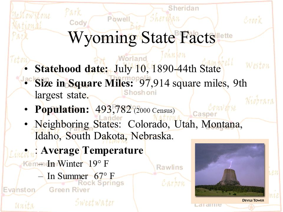 Barb Austin LCSD#1 W yoming is special because… 1.Our state is the largest in miles.