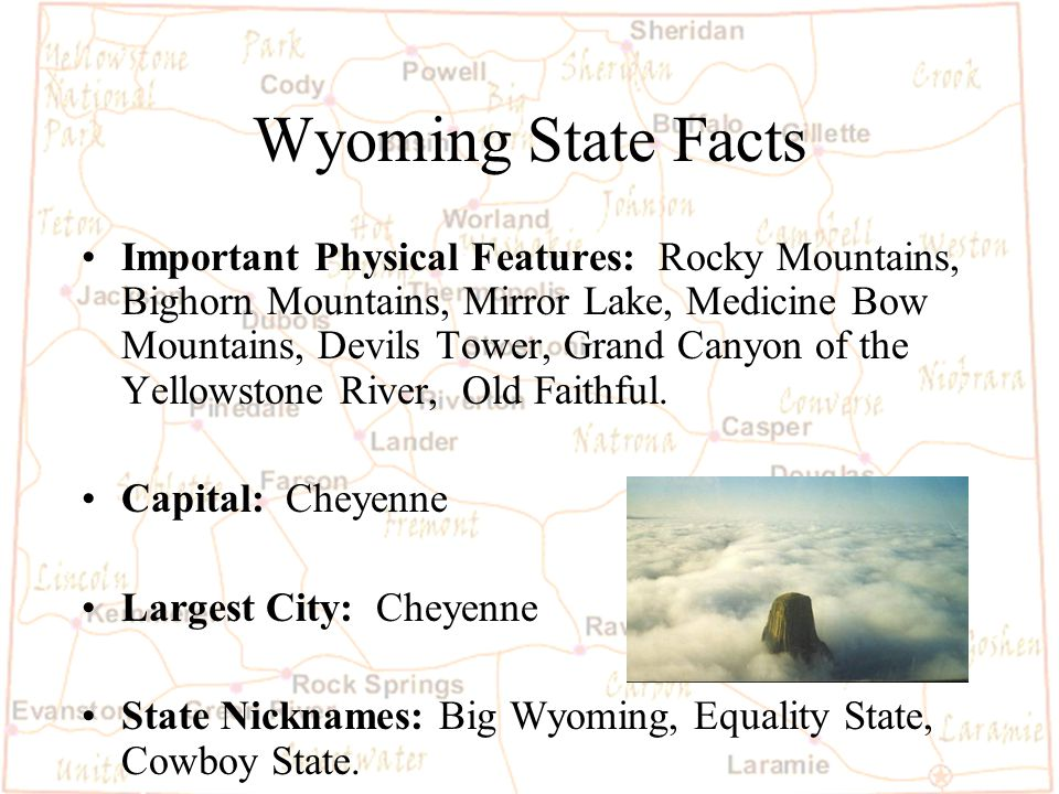 Barb Austin LCSD#1 Wyoming State Facts Statehood date: July 10, th State Size in Square Miles: 97,914 square miles, 9th largest state.