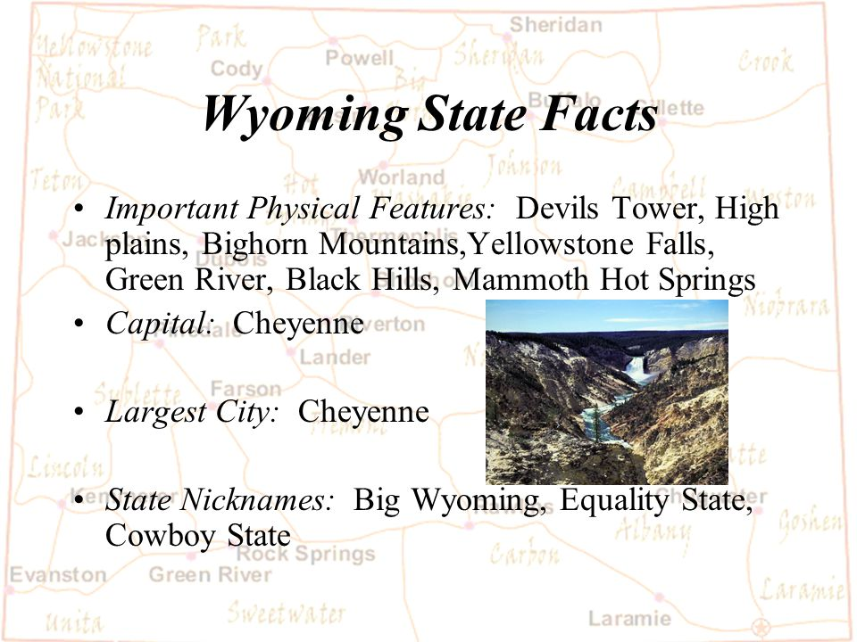 Barb Austin LCSD#1 Wyoming State Facts Statehood date: July 10, 1890-44th State Size in Square Miles: 97,914 square miles, 9th largest state Population: 493,782 :(2000 Census).