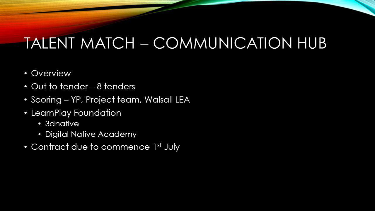 TALENT MATCH – COMMUNICATION HUB Overview Out to tender – 8 tenders Scoring – YP, Project team, Walsall LEA LearnPlay Foundation 3dnative Digital Native Academy Contract due to commence 1 st July