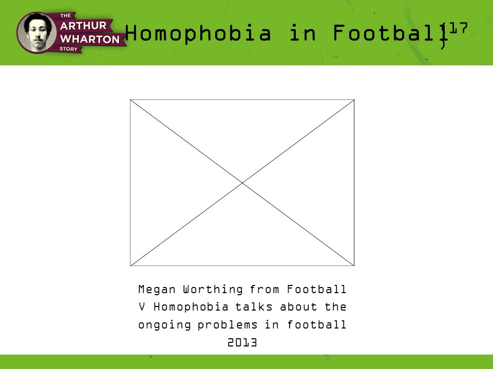 Homophobia in Football (17 ) Megan Worthing from Football V Homophobia talks about the ongoing problems in football 2013