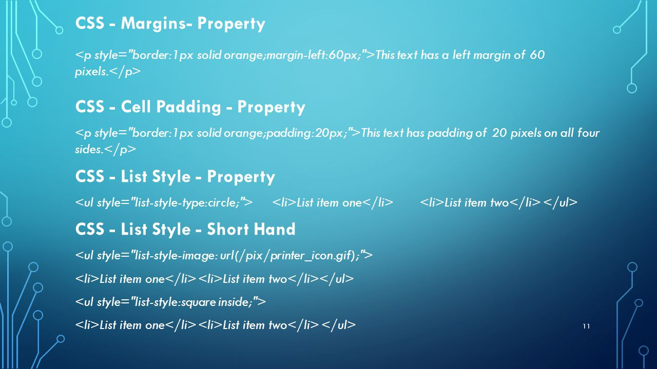 11 CSS - Margins- Property This text has a left margin of 60 pixels.