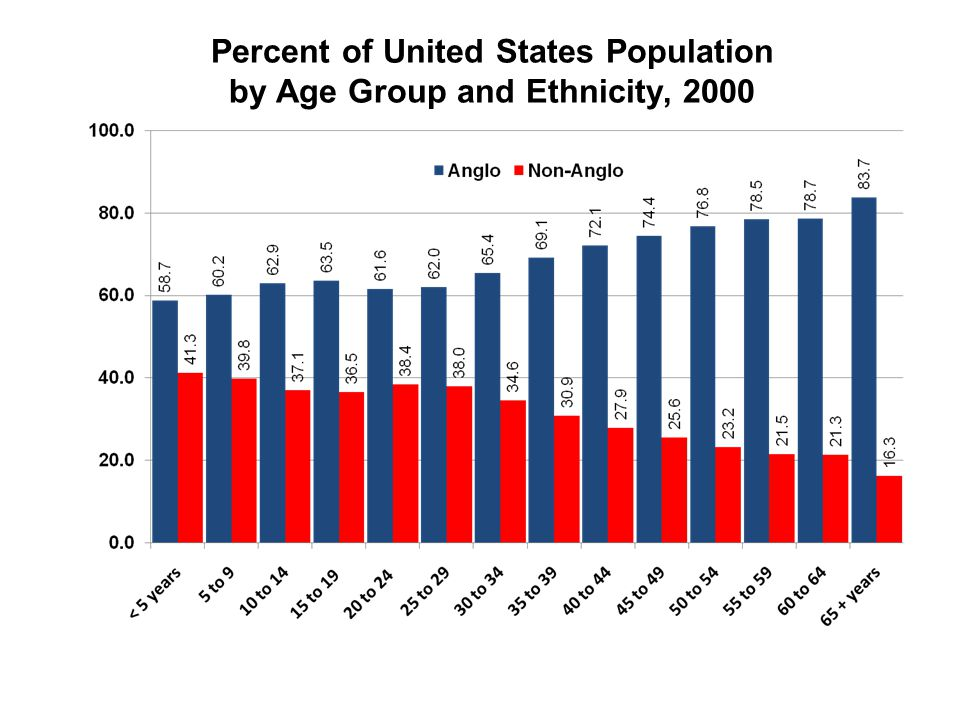 Percent of United States Population by Age Group and Ethnicity, 2000 Hobby Center for the Study of Texas at Rice University