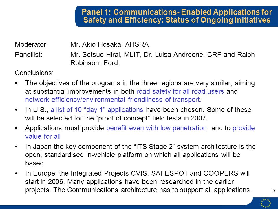 5 Panel 1: Communications- Enabled Applications for Safety and Efficiency: Status of Ongoing Initiatives Moderator: Mr.