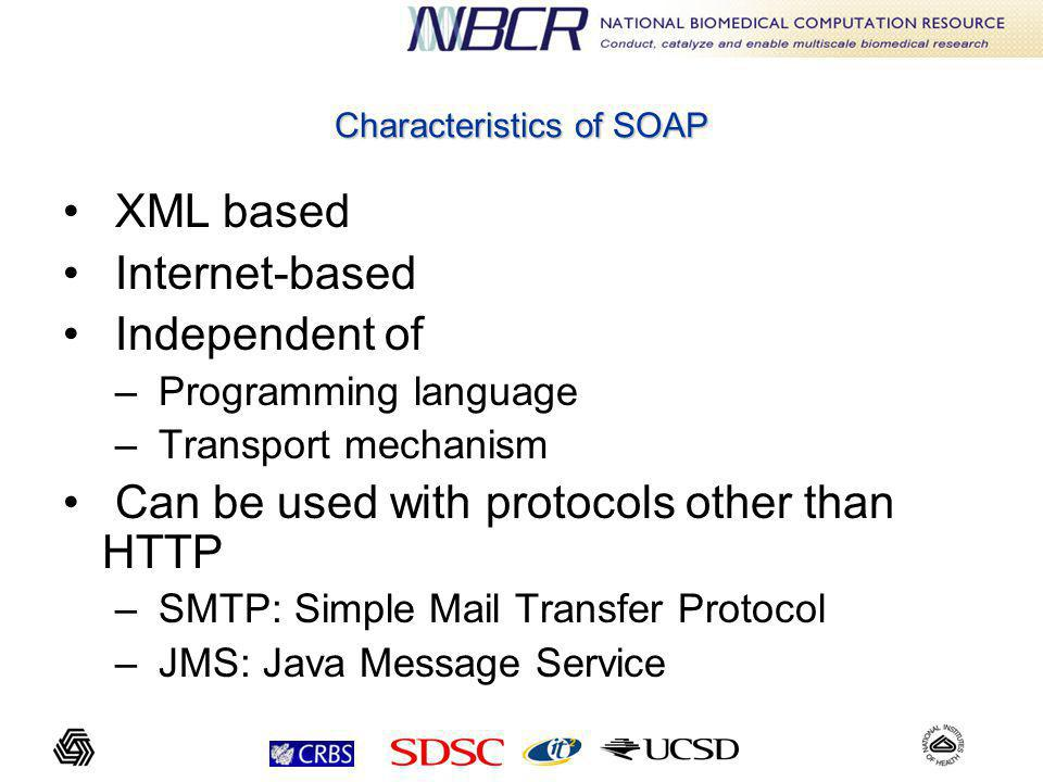 Characteristics of SOAP XML based Internet-based Independent of – Programming language – Transport mechanism Can be used with protocols other than HTTP – SMTP: Simple Mail Transfer Protocol – JMS: Java Message Service