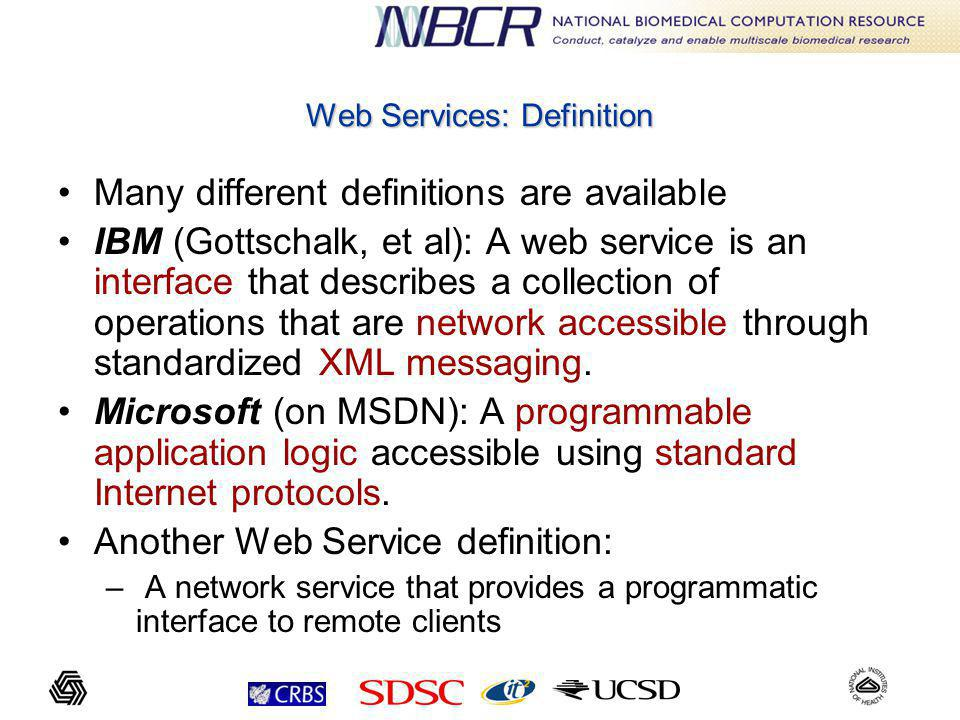 Web Services: Definition Many different definitions are available IBM (Gottschalk, et al): A web service is an interface that describes a collection of operations that are network accessible through standardized XML messaging.