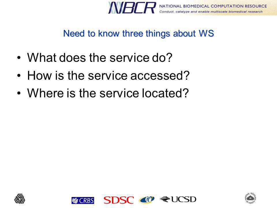 Need to know three things about WS What does the service do.
