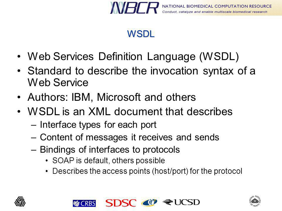 WSDL Web Services Definition Language (WSDL) Standard to describe the invocation syntax of a Web Service Authors: IBM, Microsoft and others WSDL is an XML document that describes –Interface types for each port –Content of messages it receives and sends –Bindings of interfaces to protocols SOAP is default, others possible Describes the access points (host/port) for the protocol