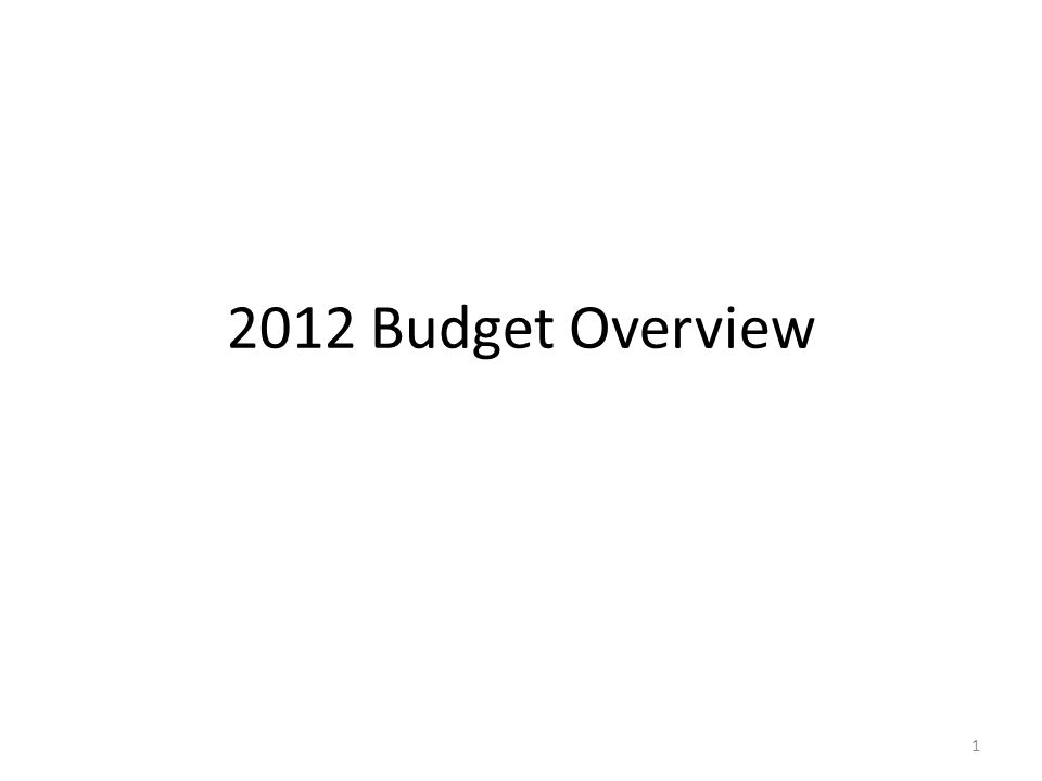 2012 Budget Overview 1