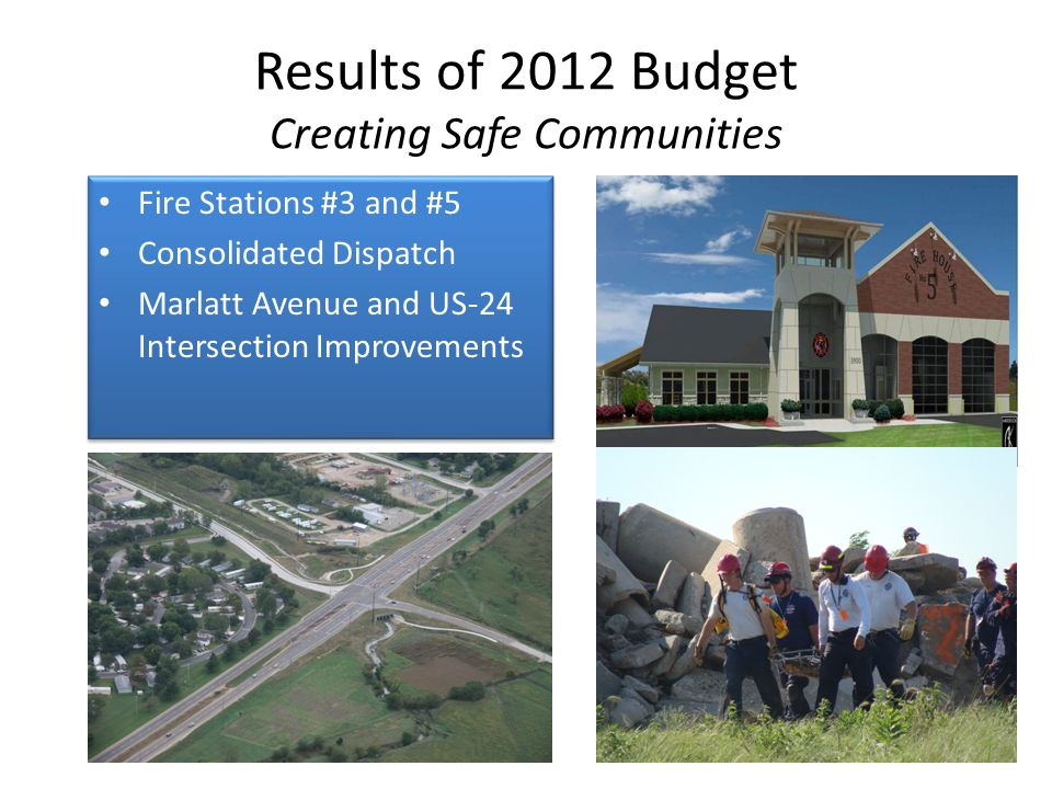 Fire Stations #3 and #5 Consolidated Dispatch Marlatt Avenue and US-24 Intersection Improvements Fire Stations #3 and #5 Consolidated Dispatch Marlatt Avenue and US-24 Intersection Improvements Results of 2012 Budget Creating Safe Communities 28