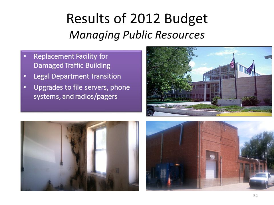 Results of 2012 Budget Managing Public Resources 34