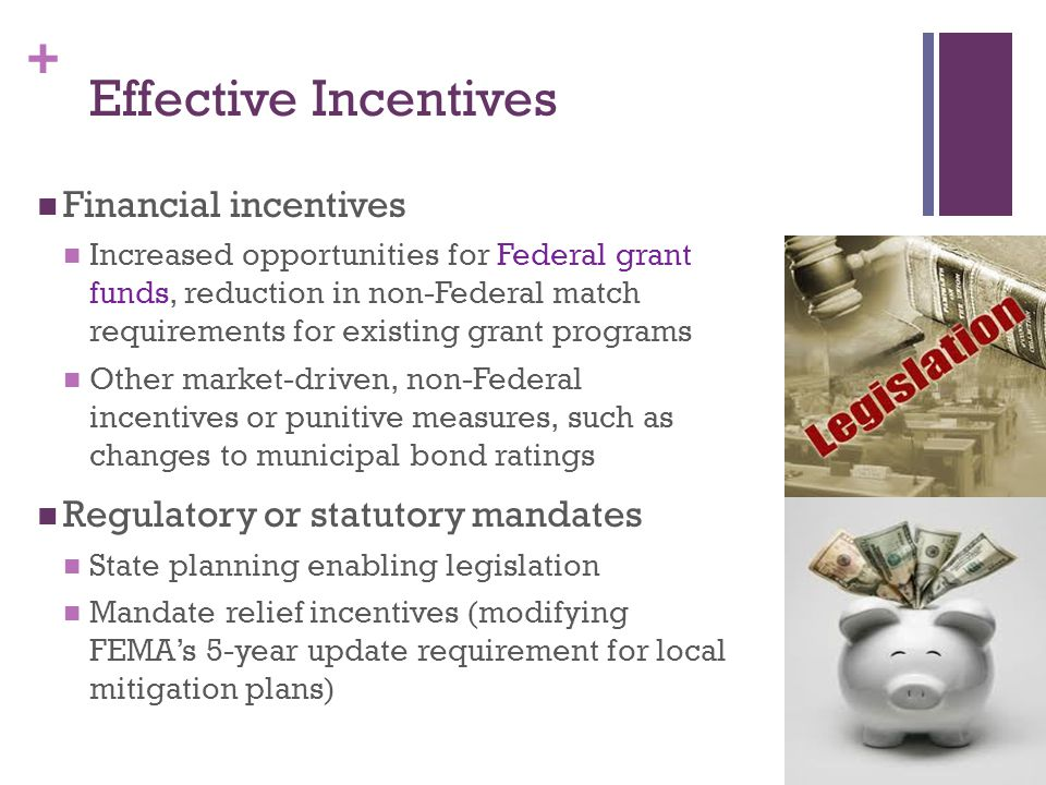 + Effective Incentives Financial incentives Increased opportunities for Federal grant funds, reduction in non-Federal match requirements for existing