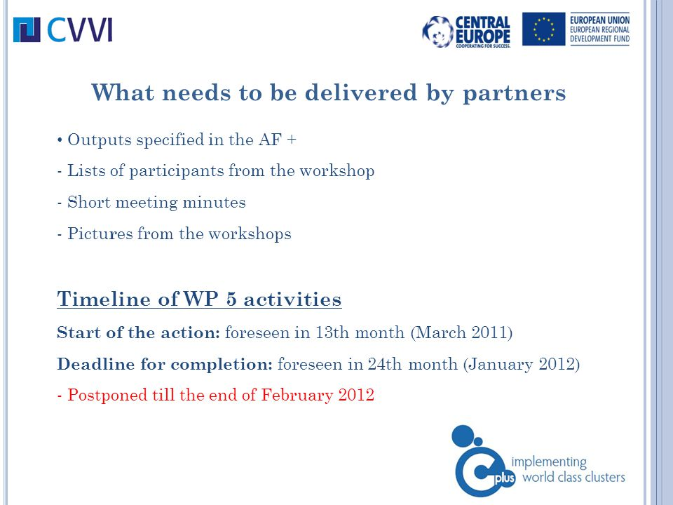 What needs to be delivered by partners Outputs specified in the AF + - Lists of participants from the workshop - Short meeting minutes - Pictu r es from the workshops Timeline of WP 5 activities Start of the action: foreseen in 13th month (March 2011) Deadline for completion: foreseen in 24th month (January 2012) - Postponed till the end of February 2012