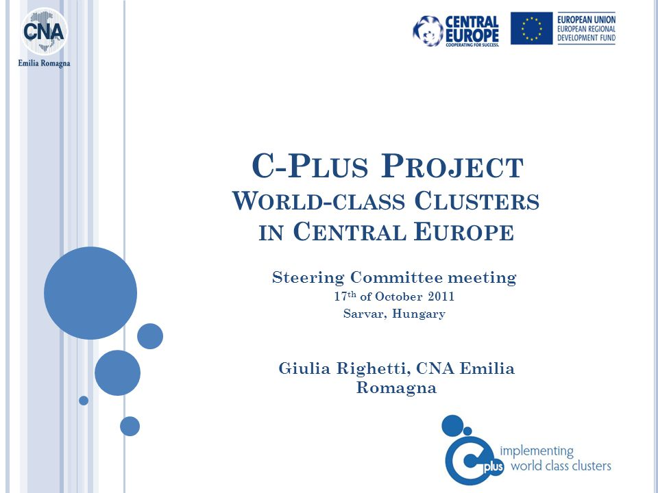 C-P LUS P ROJECT W ORLD - CLASS C LUSTERS IN C ENTRAL E UROPE Giulia Righetti, CNA Emilia Romagna Steering Committee meeting 17 th of October 2011 Sarvar, Hungary